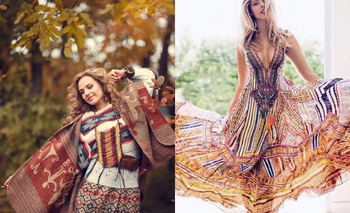 Portrait of a woman with a boho fall style outfit using multiple patterns. / A woman posing in front of a tree with a long multi color maxi dress.