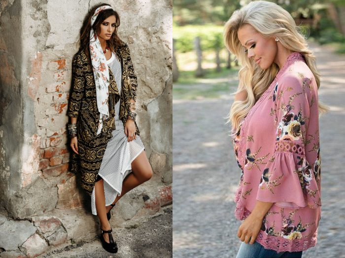A woman with a boho style jacket on over a long white dress with black shoes and a white patterned scarf. / A woman with blonde hair wearing a pink floral light sweater with no buttons or zipper..