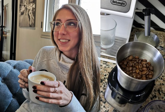Me drinking a cup of coffee on a couch. / Single-origin coffee beans sitting inside of an electric bean grinder.