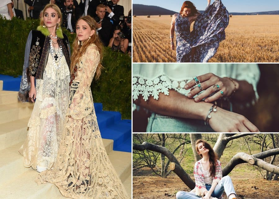 Mary Kate and Ashley Olsen in boho style clothing. / A model wearing a summer cotton maxi dress and jewelry in a field with a haystack. / Boho style woman in a white lace shirt and a lot of silver and teal jewelry. / A woman wearing boho-chic clothing with suede ankle boots and a kimono.