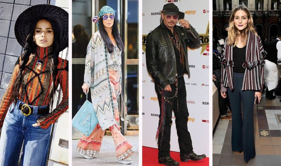 Zoe Kravitz with a chunky patterned knit roll-neck jumper with wide-leg trousers and a wide-brimmed hat. / Cher is walking through the street the day after the Met Gala with loose and colorful multi-patterned clothing. / Olivia Palermo in the front at Paris Fashion Week 2017. / Johnny Depp at the Classic Rock Awards in Japan.