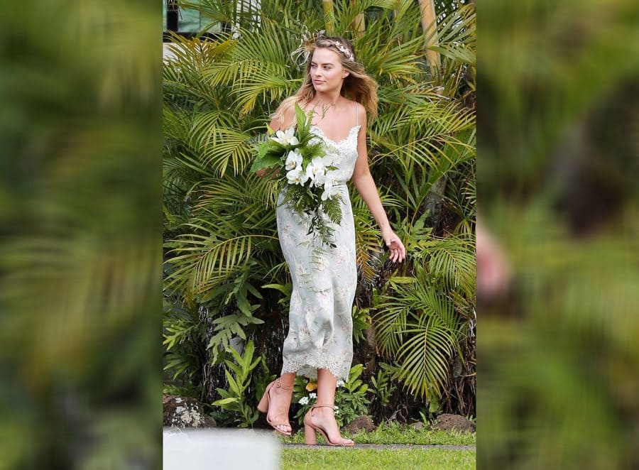 Margot Robbie as a bridesmaid at a friend's wedding.