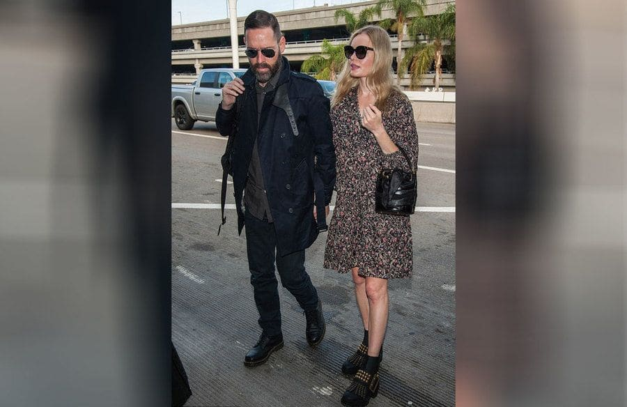 Kate Bosworth and Michael Polish were arriving at the airport in 2016.