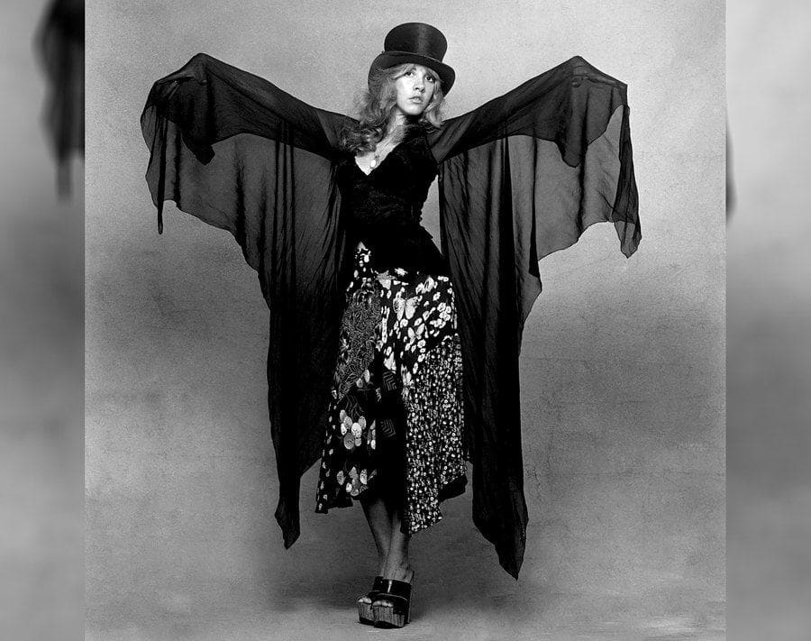 Photograph of Stevie Nicks in black and white.