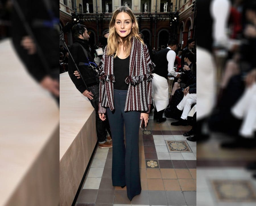 Olivia Palermo in the front at Paris Fashion Week 2017.
