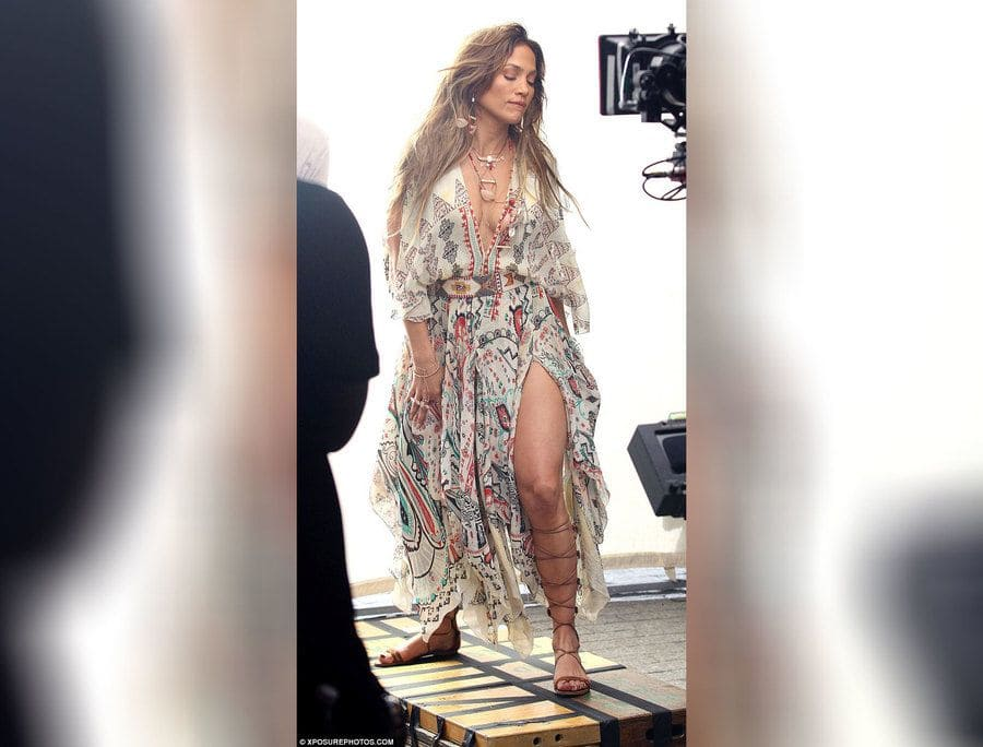 JLo on set for her new music video.