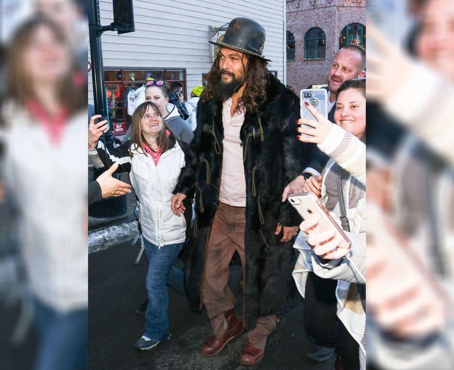 Jason Momoa on his way to the Sundance Film Festival in 2019.