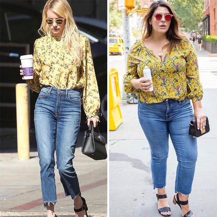 Emma Roberts and Katie Sturino side by side