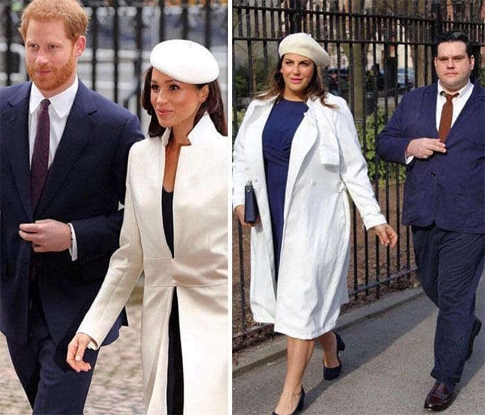 Meghan Markle and Harry and Katie Sturino and a male friend side by side