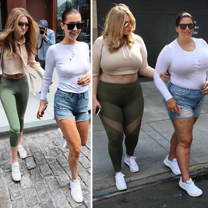 Gigi Hadid and Bella Hadid and Katie Sturino and a friend side by side