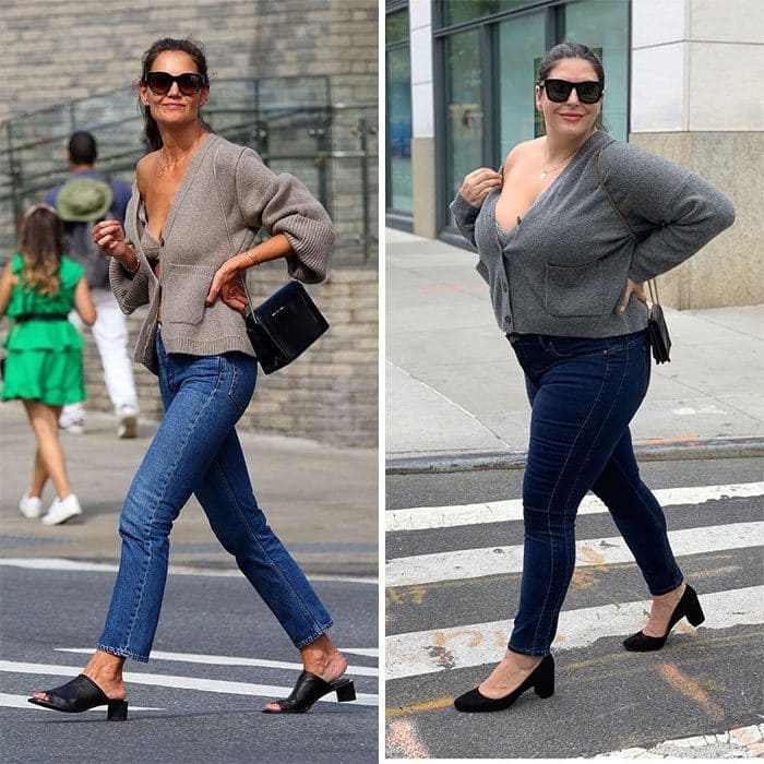 Katie Holmes and Katie Sturino side by side