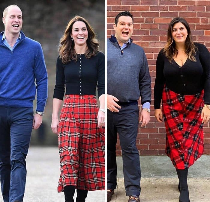 Kate Middleton, Prince William, and Katie Sturino, a male friend side by side