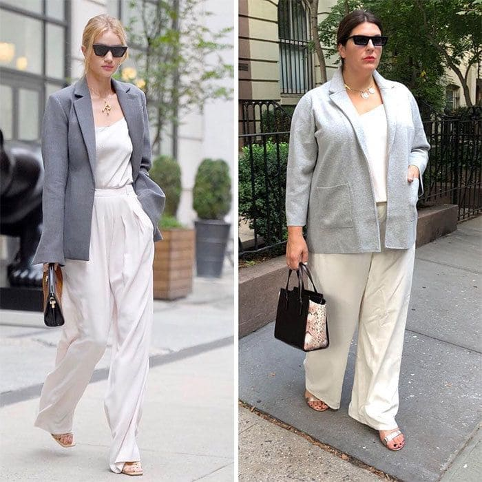 Rosie Huntington-Whiteley and Katie Sturino side by side