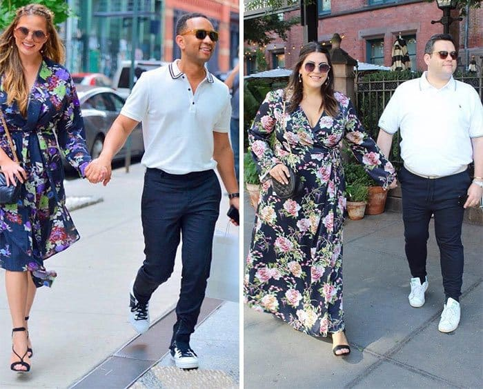 Chrissy Teigen, John Legend and Katie Sturino and her male friend side by side