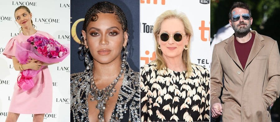 Amanda Seyfried at an event in 2020. / Beyonce at the Lion King premiere in 2019. / Meryl Streep at an event in 2019. / Ben Affleck out and about in 2019.