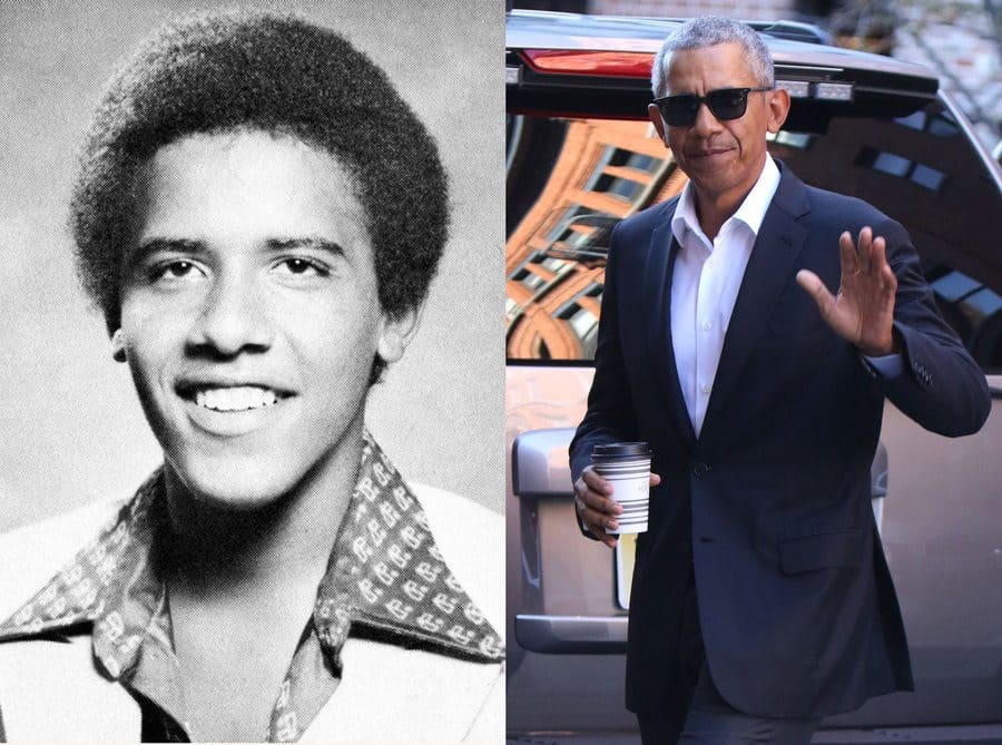 Barack Obama's yearbook photo from 1979. / Barack Obama hanging out in New York.