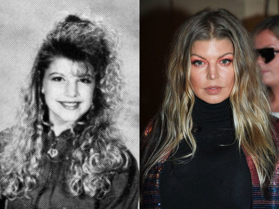 Fergie's yearbook photo from 1990. / Fergie at an event in 2019.