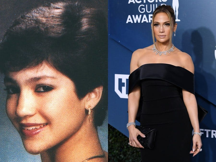 Jennifer Lopez's yearbook photo from 1987. / Jennifer Lopez at an event in 2020.