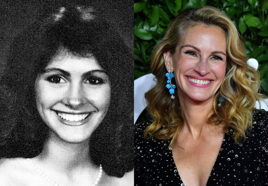 Julia Roberts yearbook photo from 1985. / Julia Roberts at an event in 2019.