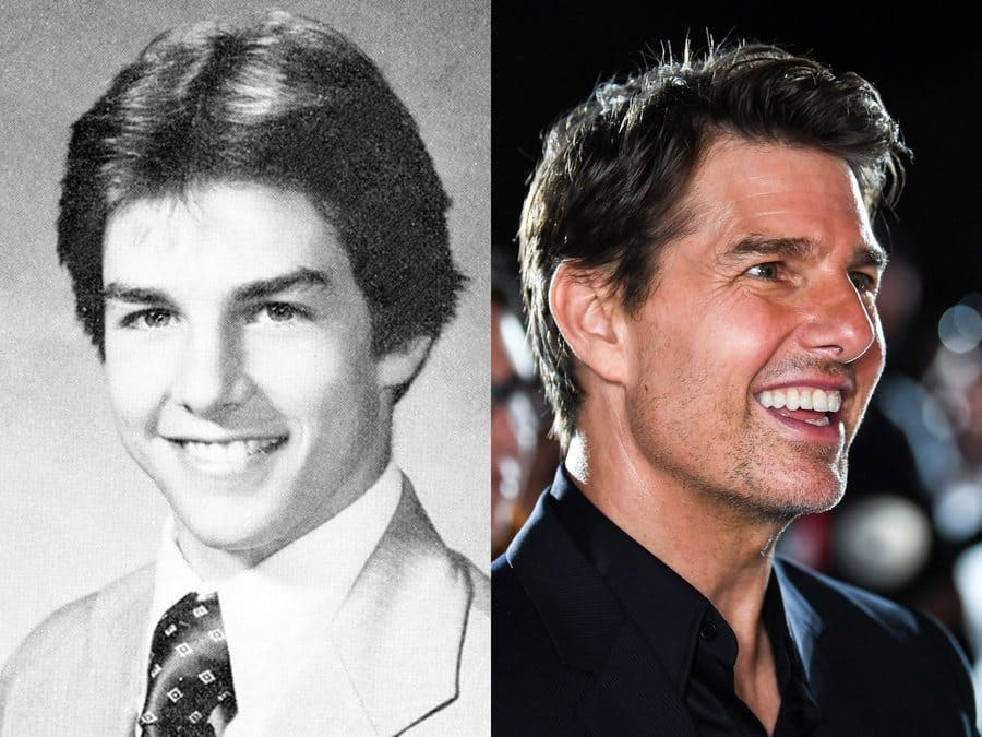 Tom Cruise's yearbook photo from 1980. / Tom Cruise at an event in 2018.