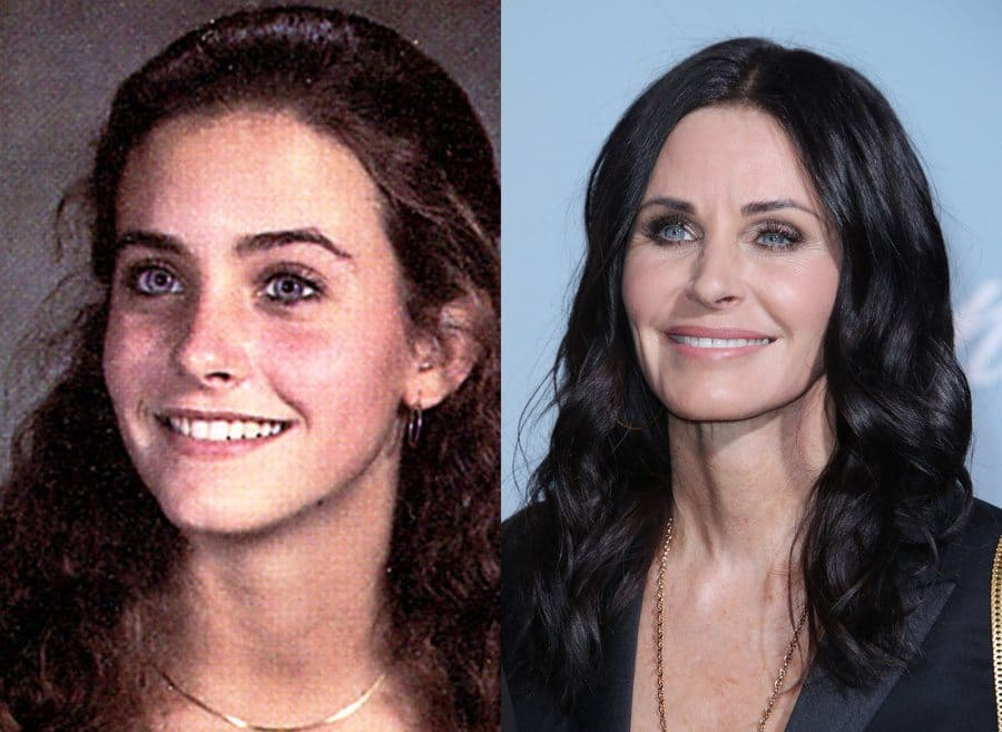 Courteney Cox's yearbook photo from 1982. / Courteney Cox at an event in 2019.