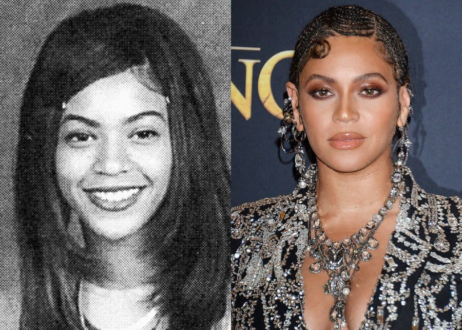 Beyonce's yearbook photo from 1996. / Beyonce at the Lion King premiere in 2019.