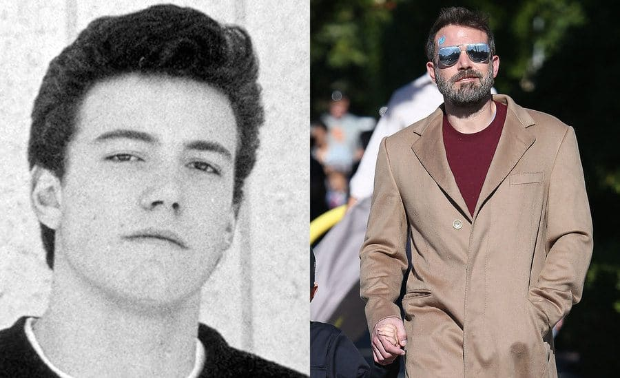 Ben Affleck's yearbook photo in 1987. / Ben Affleck out and about in 2019.