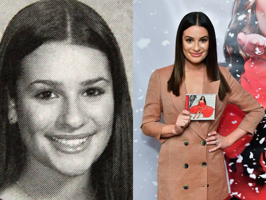 Lea Michele's yearbook photo in 2004. / Lea Michele at an event in 2019.