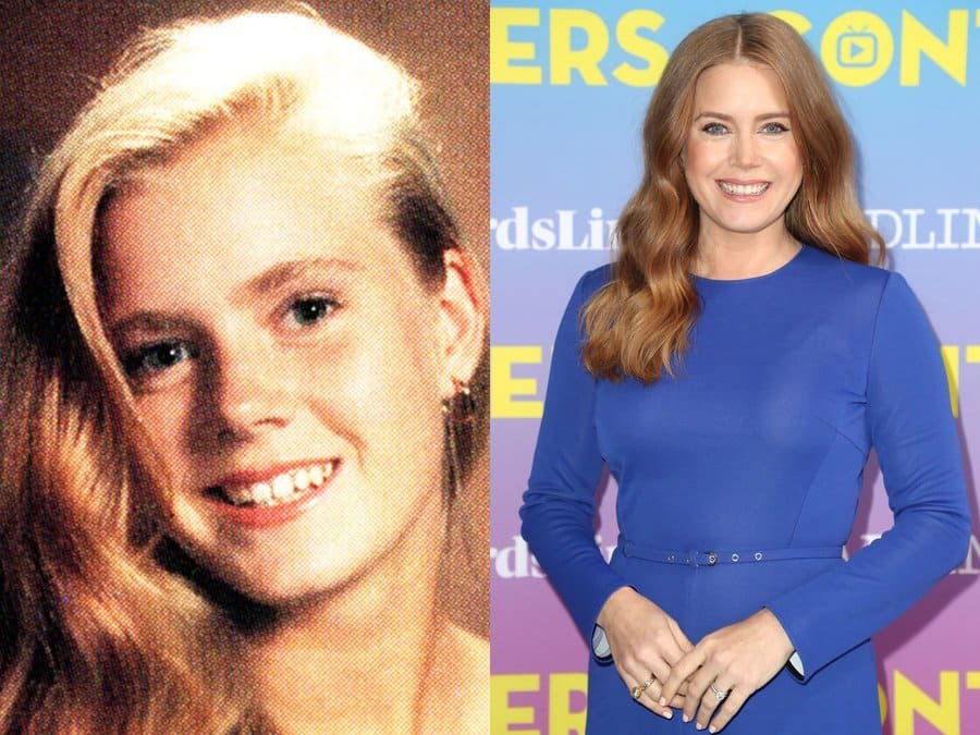 Amy Adams' yearbook photo in 1992. / Amy Adams at an event in 2019.