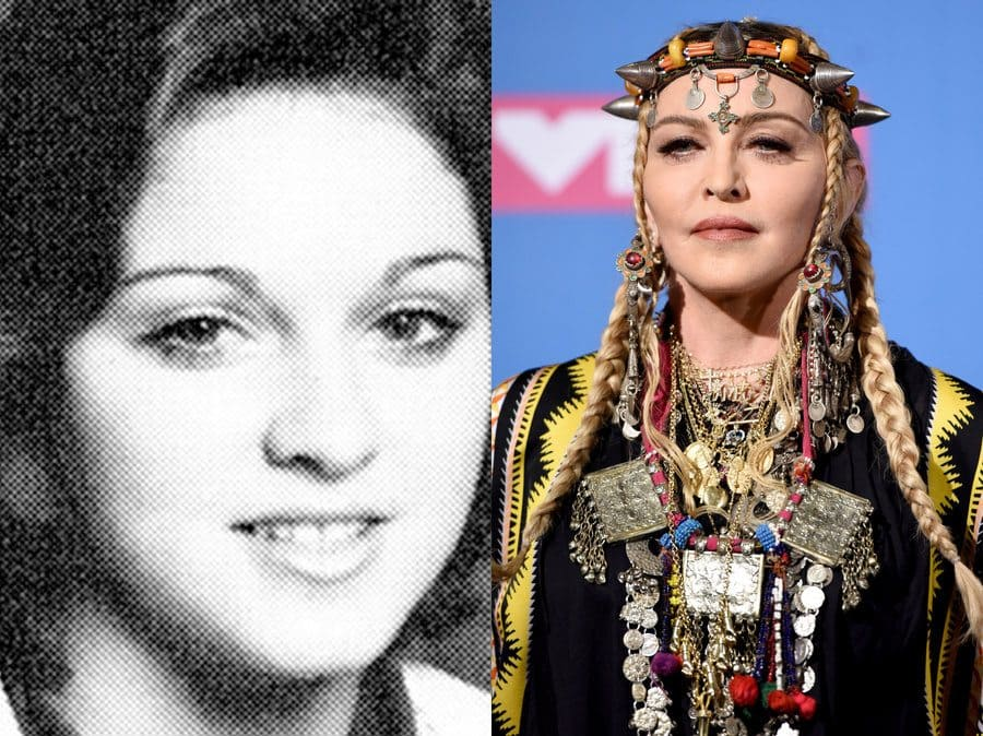 Madonna's yearbook photo in 1975. / Madonna at an event in 2018.
