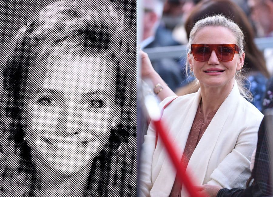 Cameron Diaz in her yearbook photo in 1988. / Cameron Diaz at an event in 2019.