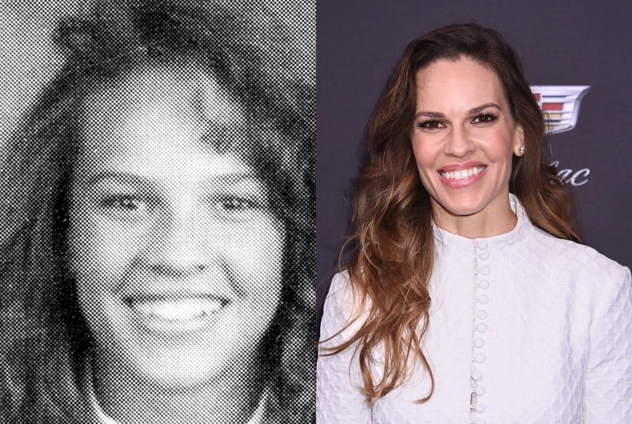 Hilary Swank in her yearbook photo in 1990. / Hilary Swank at an event in 2019.
