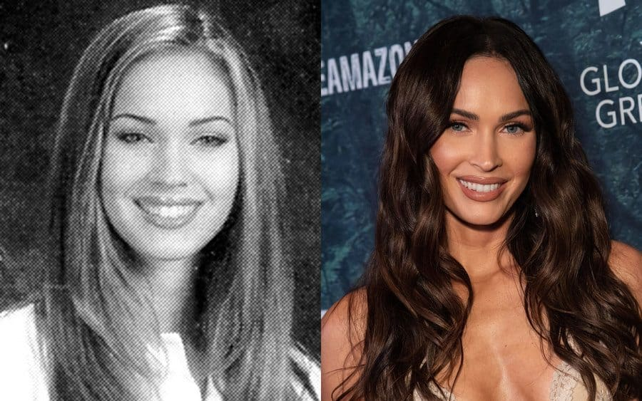 Megan Fox in her yearbook photo in 2001. / Megan Fox at an event in 2019.