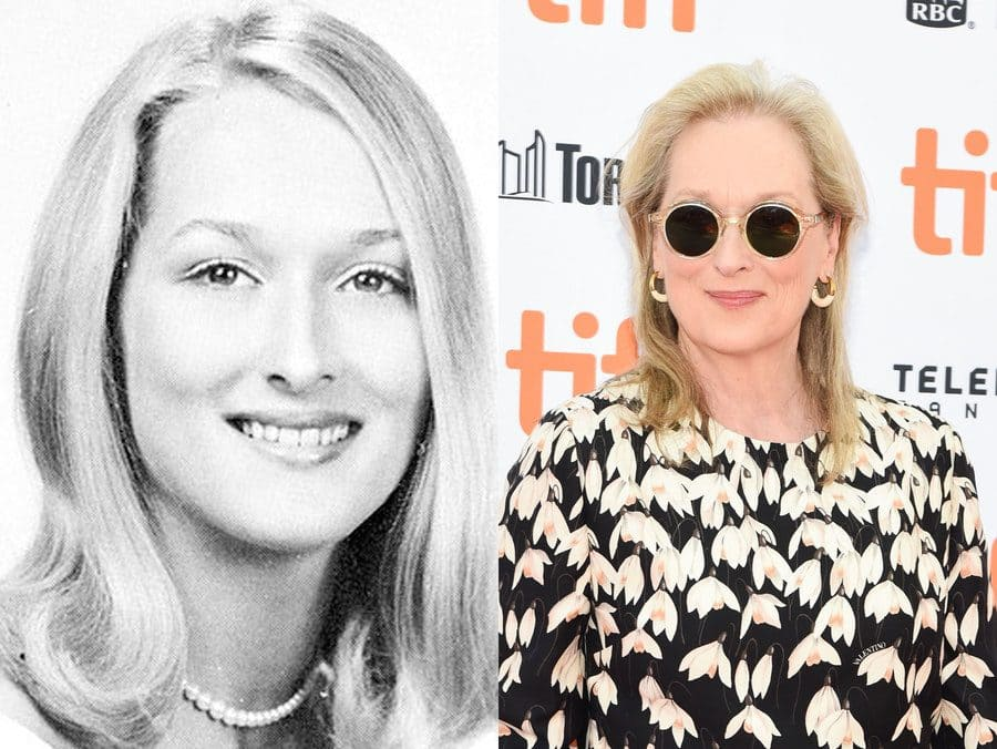 Meryl Streep in her yearbook photo in 1967. / Meryl Streep at an event in 2019.