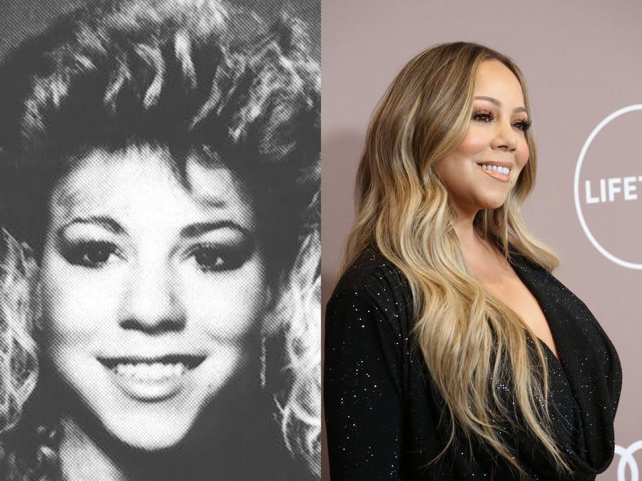 Mariah Carey in her yearbook photo in 1987. / Mariah Carey at an event in 2019.