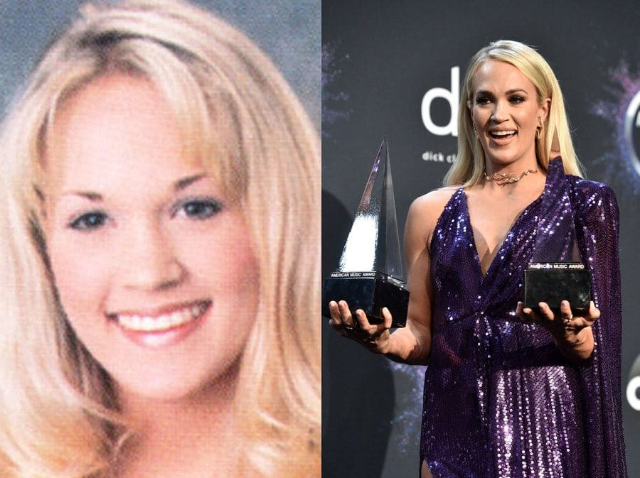 Carrie Underwood in her yearbook photo in 2001. / Carrie Underwood at an event holding her awards in 2019.