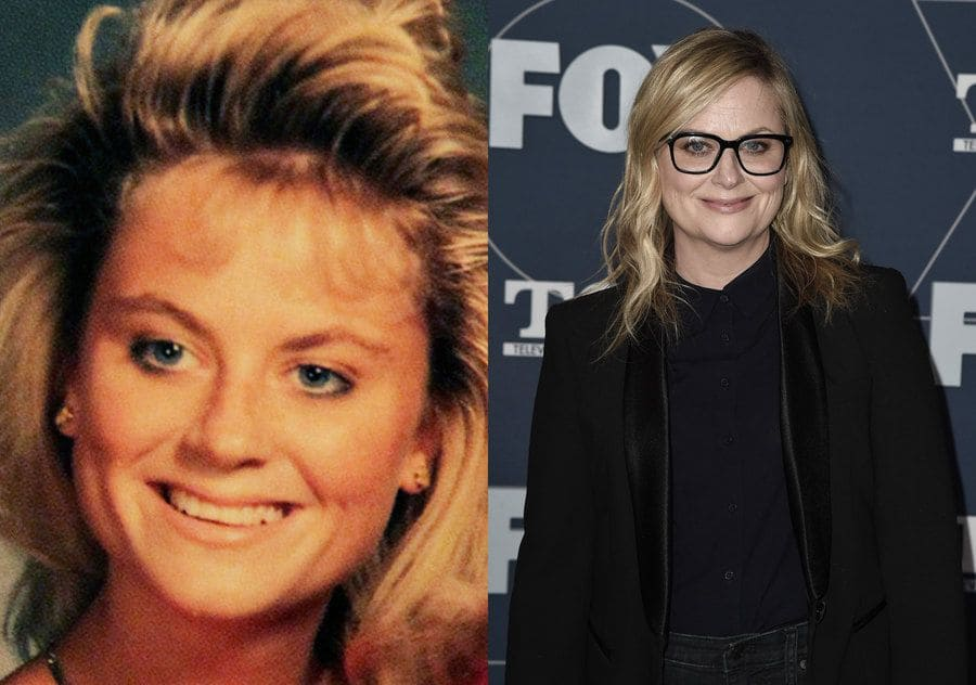 Amy Poehler in her yearbook photo in 1989. / Amy Poehler at an event in 2020.