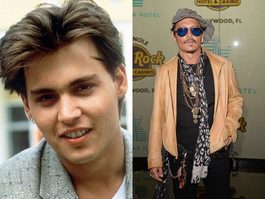 Johnny Depp in 1987. / Johnny Depp at an event in 2019.
