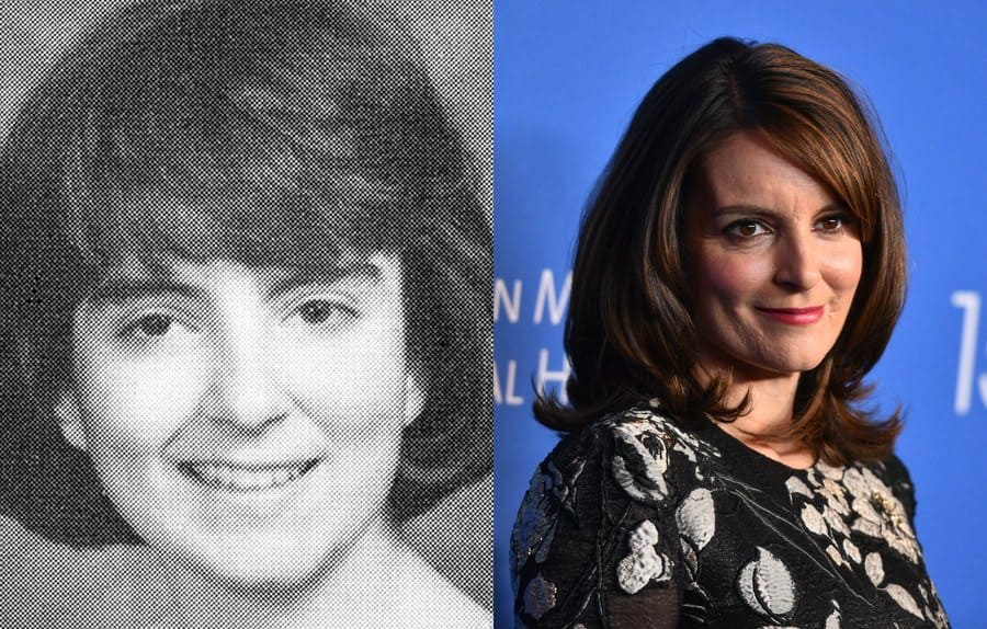 Tina Fey in her yearbook photo in 1988. / Tina Fey at an event in 2019.