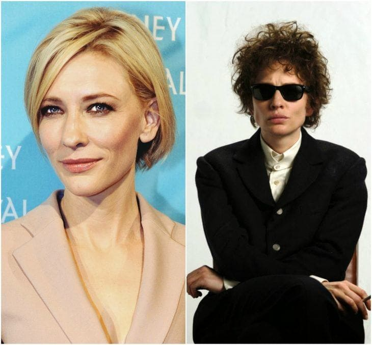 Cate Blanchett and Cate Blanchett as Bob Dylan side by side