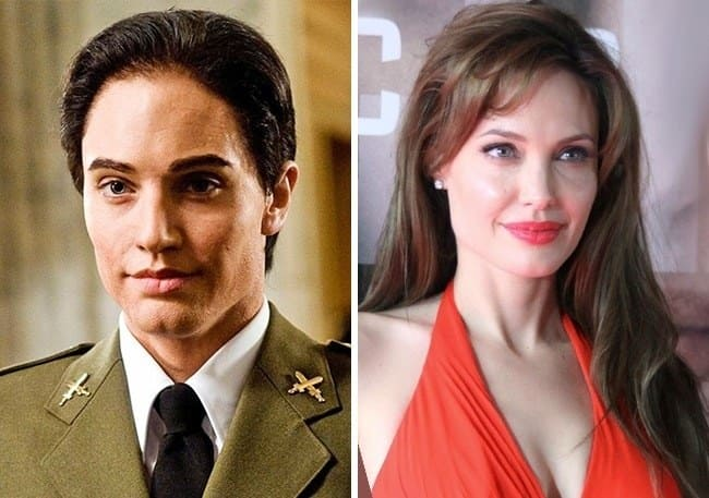 Angelina Jolie dressed as a male soldier
