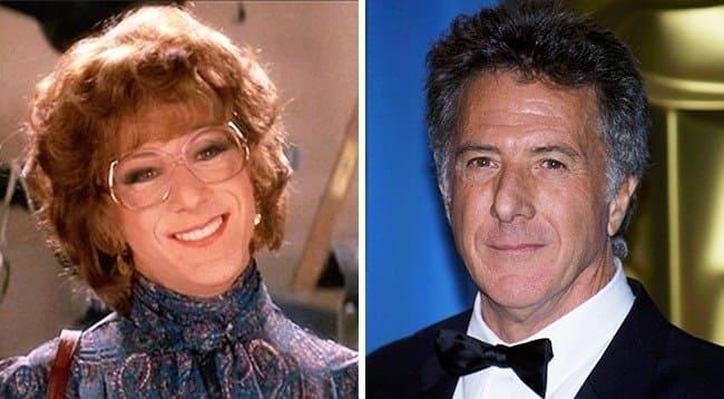 Dustin Hoffman dressed as a woman in Tootsie