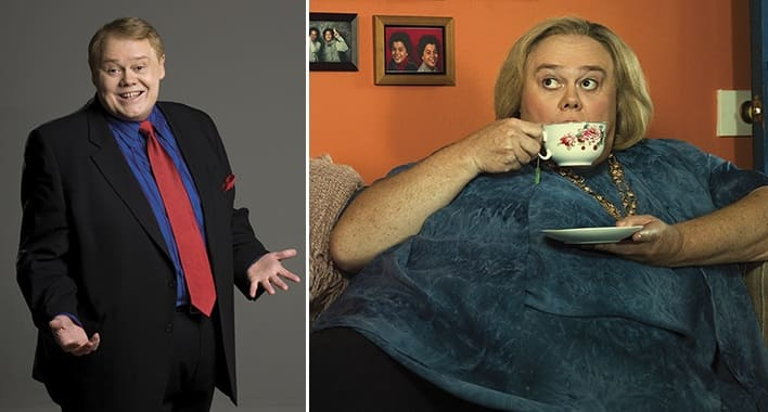 Louie Anderson as himself and Christine Baskets in the FX show Baskets