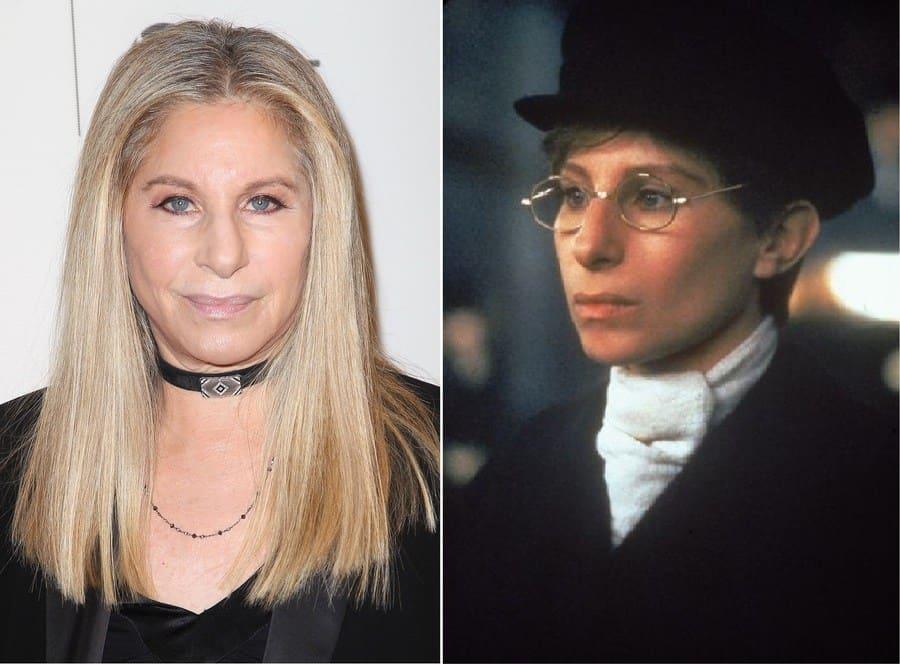 Barbra Streisand playing Yentl and Barbra Streisand as hefself