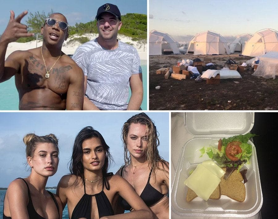 Ja Rule and Billy McFarland/ Fyre Festival tents/ Instagram models/ sandwich in a sturofoam container