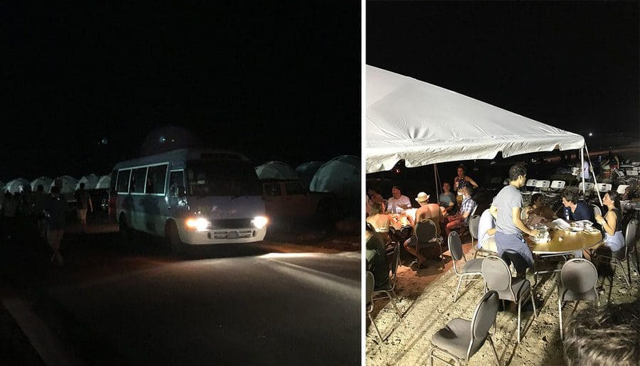 Bus at Fyre Festival/ attendees hanging around