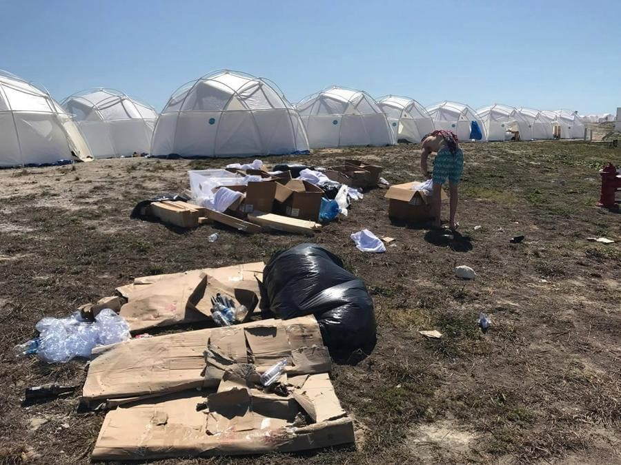 garbage laying around at the Fyre Festival