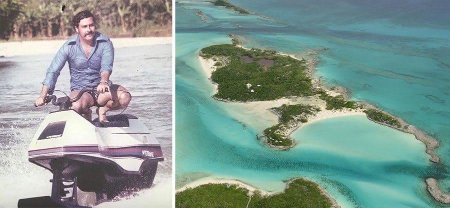 Pablo Escobar on a jet ski/ Norman's Cay