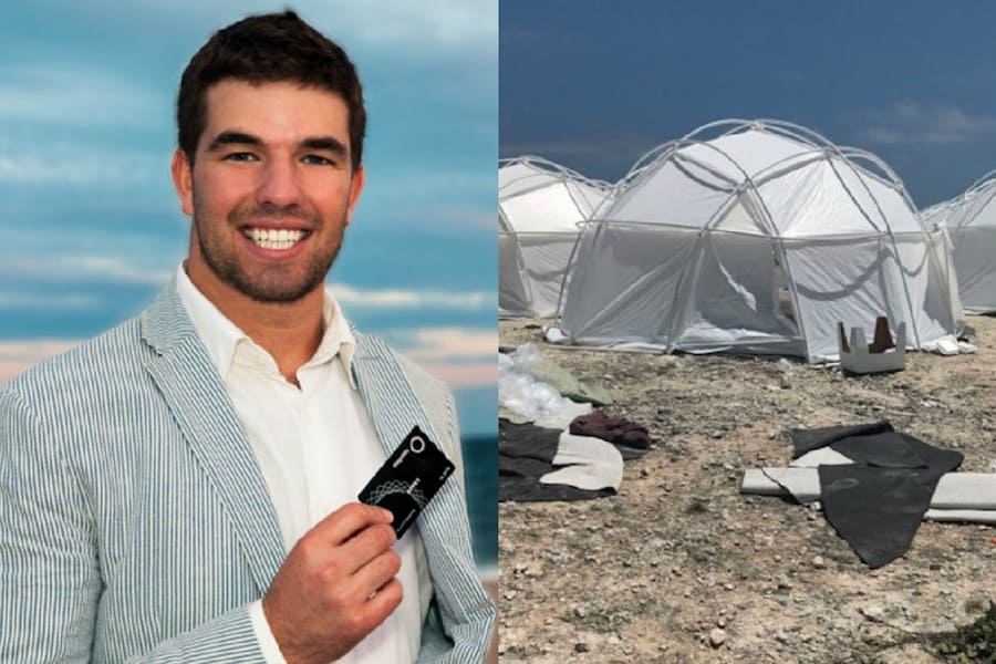Billy McFarland smiling with a credit card/ Fyre Festival disaster
