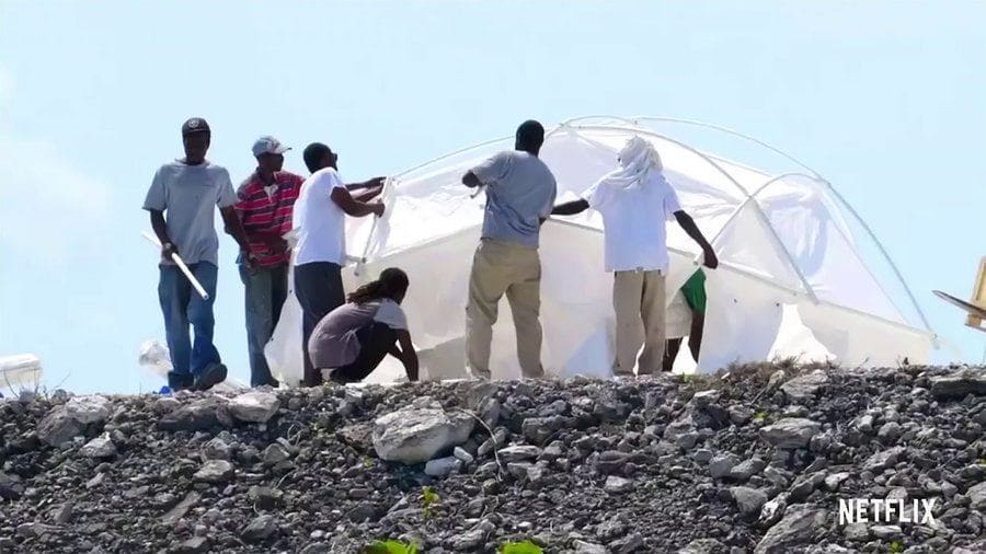 Workers pitching tents at Fyre Festival
